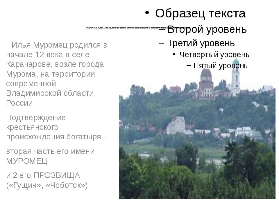 Илья Муромец родился в начале 12 века в селе Карачарове, возле города Мурома...