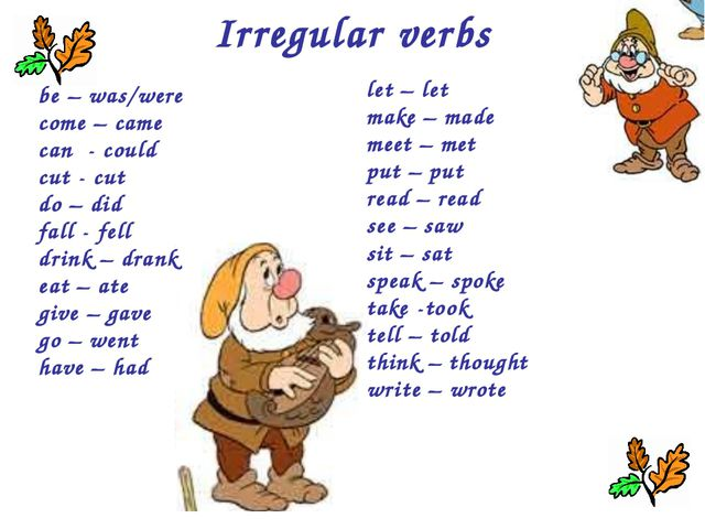 Irregular verbs be – was/were come – came can - could cut - cut do – did fall...