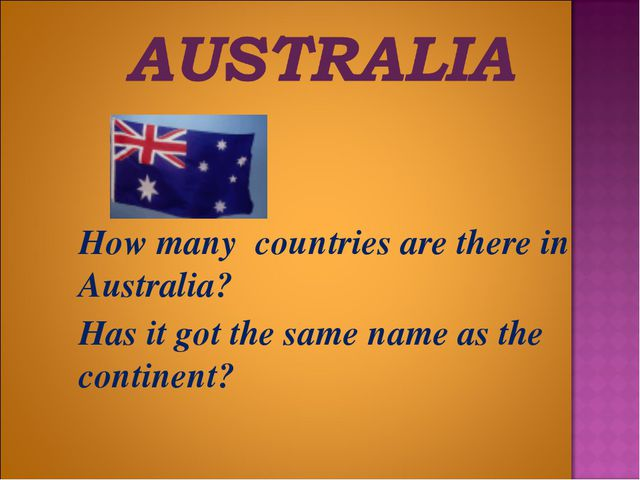 How many countries are there in Australia? 	Has it got the same name as the...