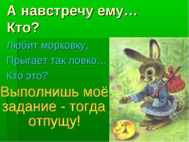 А навстречу ему… Кто? Любит морковку, Прыгает так ловко… Кто это?