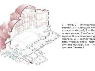 1 — вход; 2 — императорские ворота; 3 — плачущая колонна; 4 — алтарь — Михраб