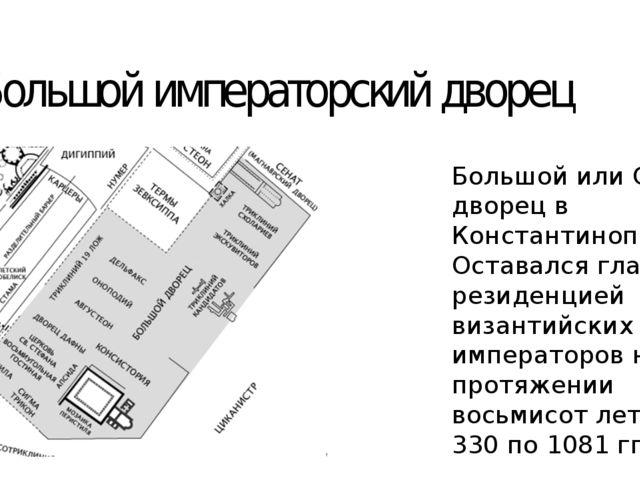 Большой императорский дворец Большой или Святой дворец в Константинополе. Ост...