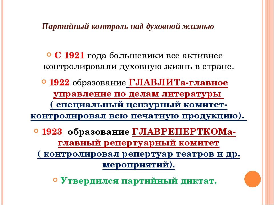Партийный контроль над духовной жизнью С 1921 года большевики все активнее к...