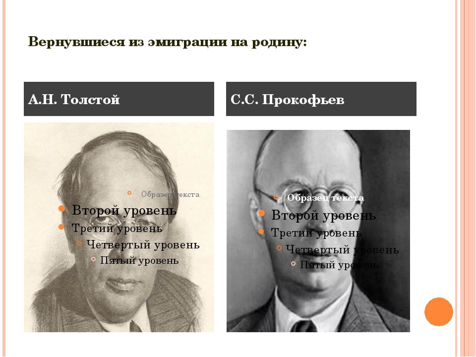 Вернувшиеся из эмиграции на родину: А.Н. Толстой С.С. Прокофьев