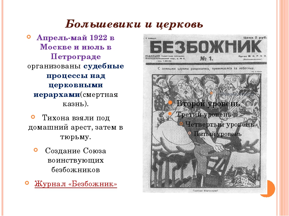 Большевики и церковь Апрель-май 1922 в Москве и июль в Петрограде организова...