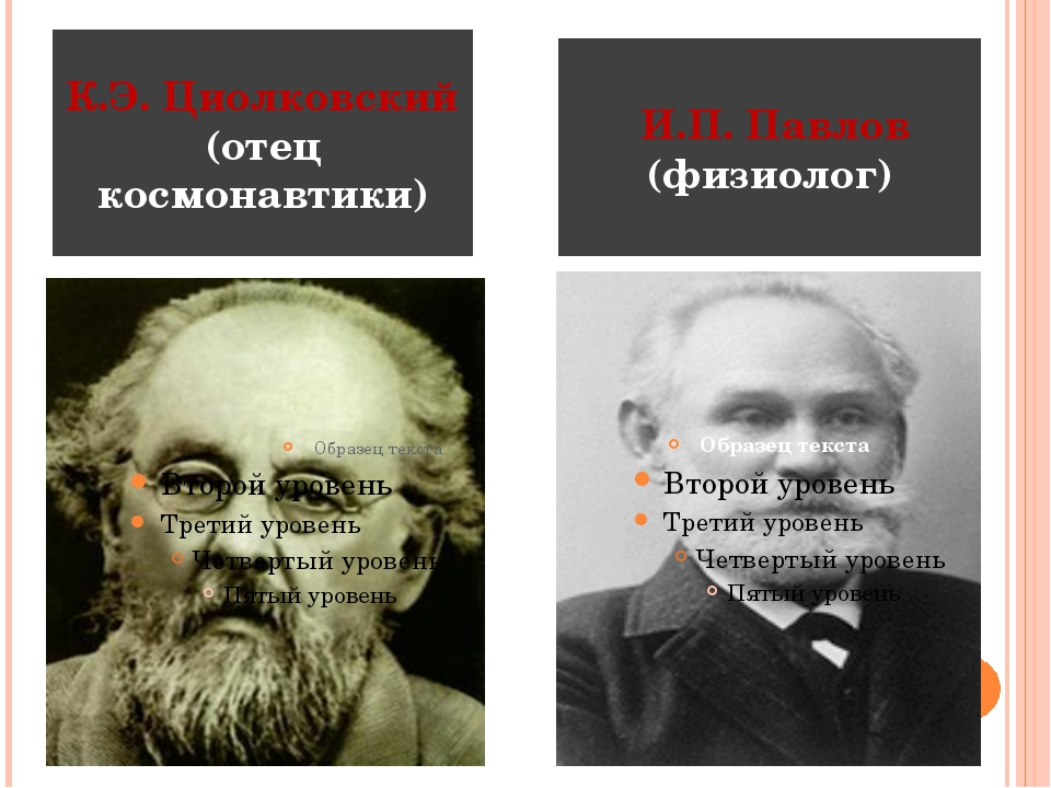 К.Э. Циолковский (отец космонавтики) И.П. Павлов (физиолог)