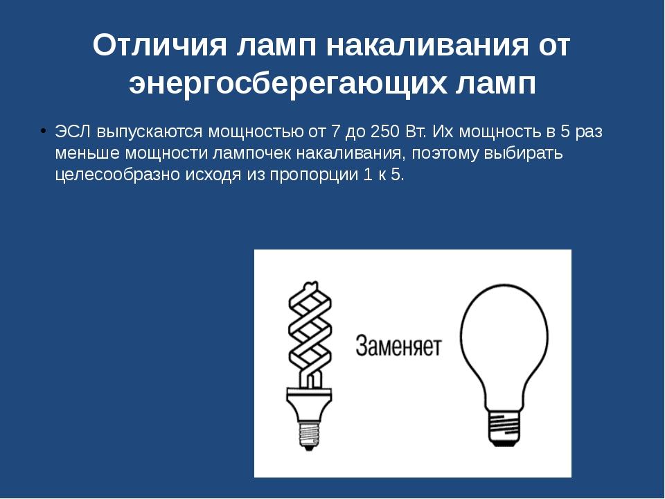 Отличия ламп накаливания от энергосберегающих ламп ЭСЛ выпускаются мощностью...