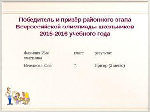Победитель и призёр районного этапа Всероссийской олимпиады школьников 2015-2