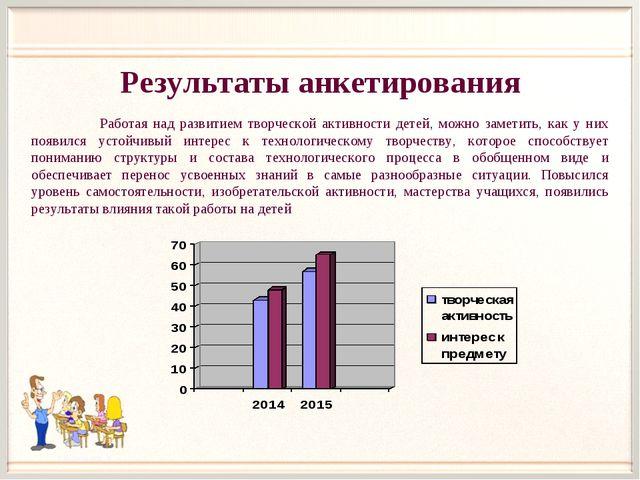Результаты анкетирования Работая над развитием творческой активности детей, м...