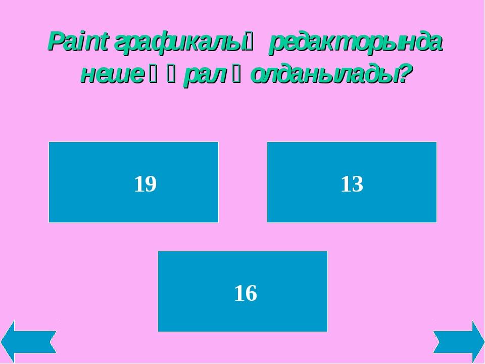 Paint графикалық редакторында неше құрал қолданылады? 19 13 16