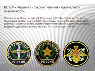 ВС РФ - главные силы обеспечения национальной безопасности. Вооруженные Силы