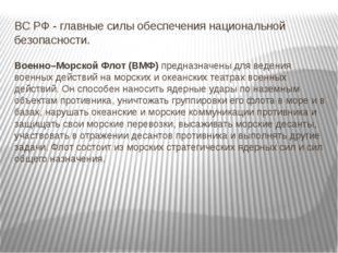 ВС РФ - главные силы обеспечения национальной безопасности. Военно–Морской Фл
