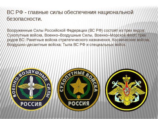 ВС РФ - главные силы обеспечения национальной безопасности. Вооруженные Силы...