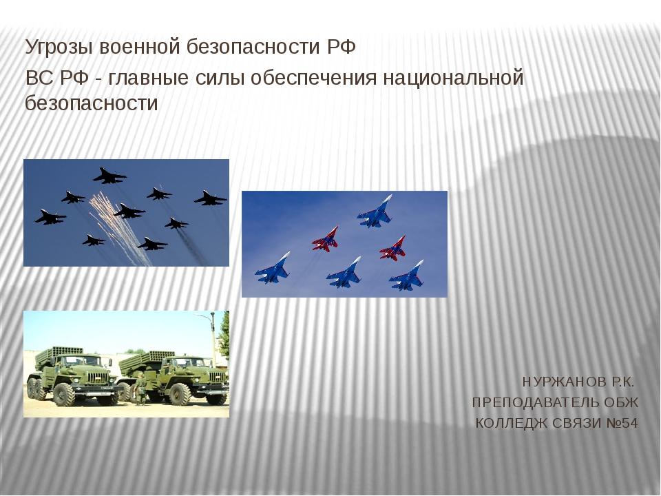 Угрозы военной безопасности РФ ВС РФ - главные силы обеспечения национальной...
