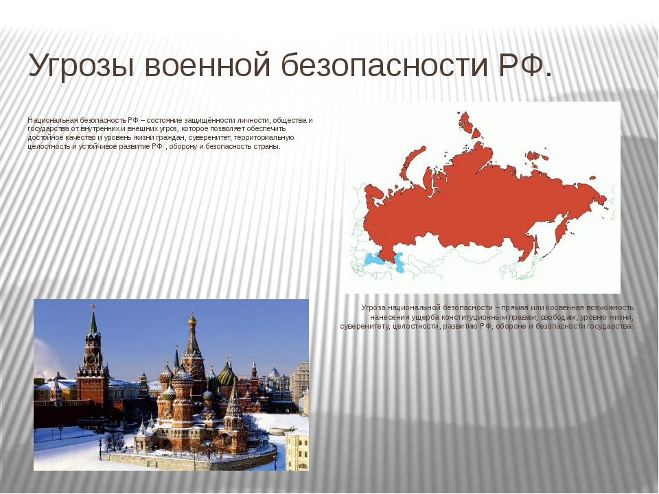 Угрозы военной безопасности РФ. Национальная безопасность РФ – состояние защи...
