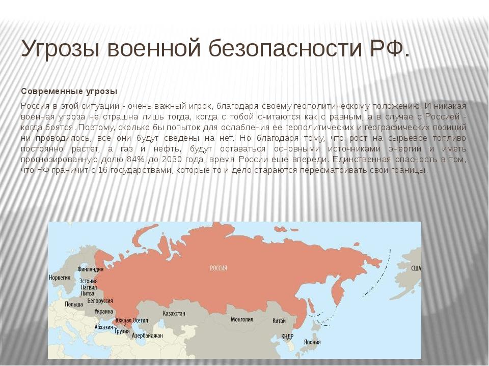 Угрозы военной безопасности РФ. Современные угрозы Россия в этой ситуации - о...