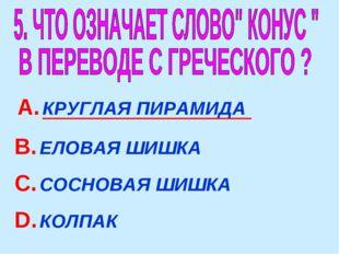 А. КРУГЛАЯ ПИРАМИДА В. ЕЛОВАЯ ШИШКА С. СОСНОВАЯ ШИШКА D. КОЛПАК
