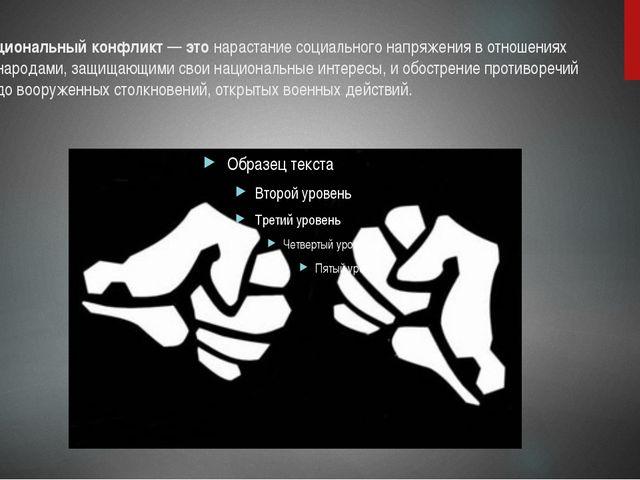 Межнациональный конфликт—этонарастание социального напряжения в отношениях...