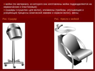Рис. Кресло с мойкой ♦ мойки (по материалу, из которого они изготовлены мойки
