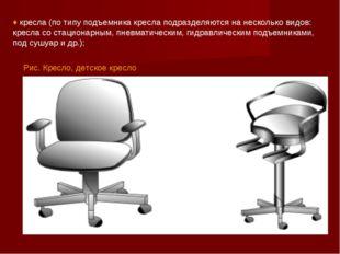 Рис. Кресло, детское кресло ♦ кресла (по типу подъемника кресла подразделяютс