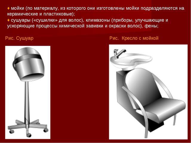 Рис. Кресло с мойкой ♦ мойки (по материалу, из которого они изготовлены мойки...