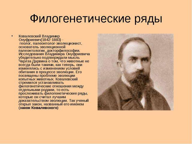 Филогенетические ряды Ковалевский Владимир Онуфриевич(1842-1883) - геолог,п...