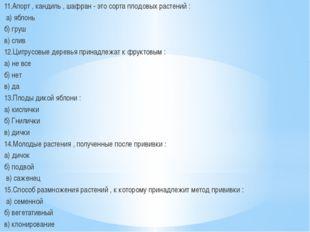 11.Апорт , кандиль , шафран - это сорта плодовых растений : а) яблонь б) груш