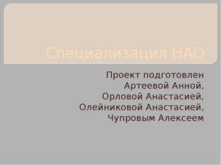 Специализация НАО Проект подготовлен Артеевой Анной, Орловой Анастасией, Олей