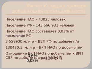 Расчет Кспец на примере добывающей промышленности Население НАО – 43025 челов