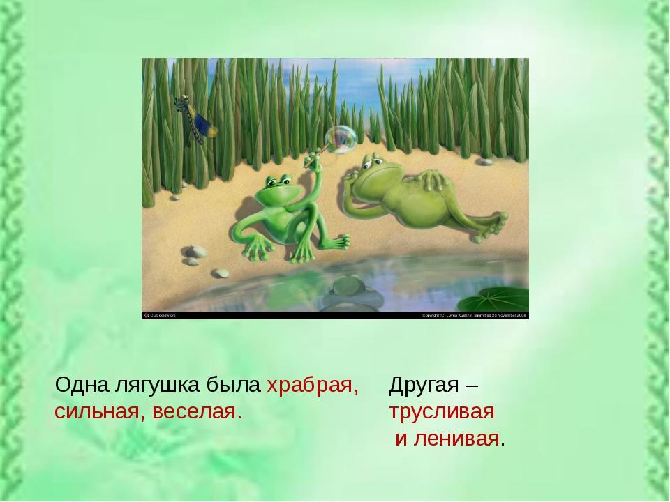Одна лягушка была храбрая, сильная, веселая. Другая – трусливая и ленивая.