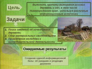 Цель Выяснить причины вымирания русских деревень и сёл, в том числе Нижегород