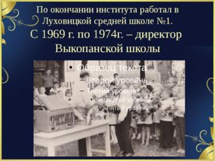 По окончании института работал в Луховицкой средней школе №1. С 1969 г. по 19
