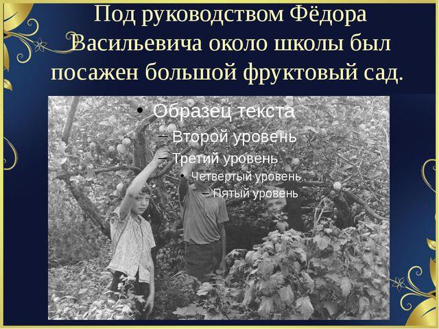 Под руководством Фёдора Васильевича около школы был посажен большой фруктовый...