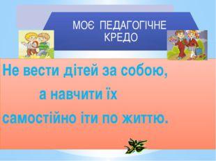 Не вести дітей за собою, а навчити їх самостійно іти по життю.