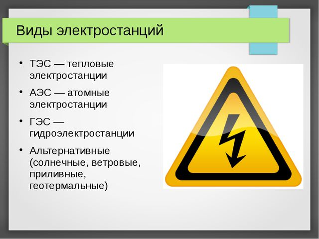 Виды электростанций ТЭС — тепловые электростанции АЭС — атомные электростанци...