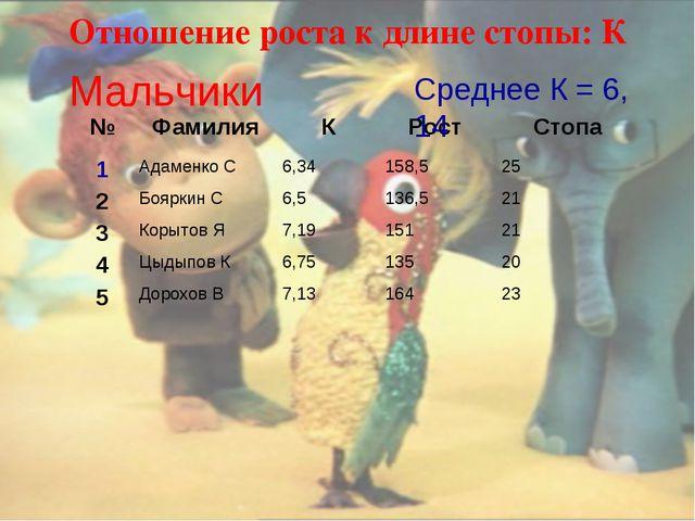 Отношение роста к длине стопы: К Мальчики Среднее К = 6, 14 №ФамилияКРост...