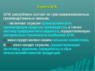 Отрасли АПК АПК республики состоит из трех взаимосвязанных производственных з