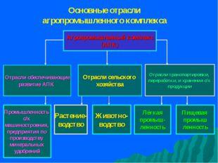 Агропромышленный комплекс (АПК) Отрасли обеспечивающие развитие АПК Отрасли с