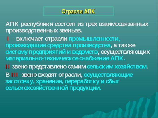 Отрасли АПК АПК республики состоит из трех взаимосвязанных производственных з...