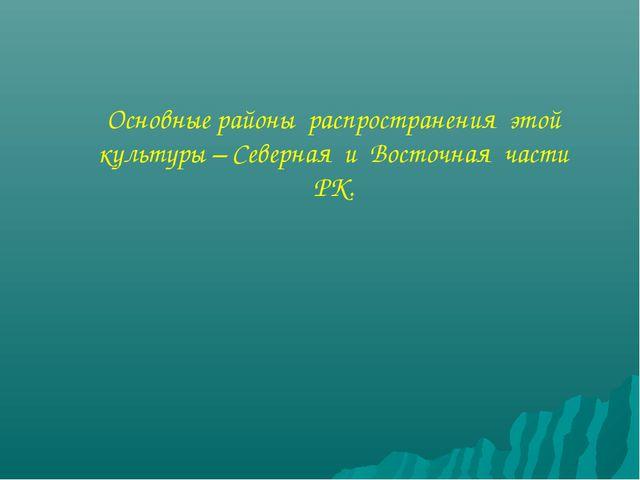 Основные районы распространения этой культуры – Северная и Восточная части РК.