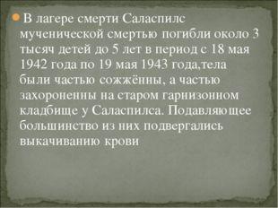 В лагере смерти Саласпилс мученической смертью погибли около 3 тысяч детей до