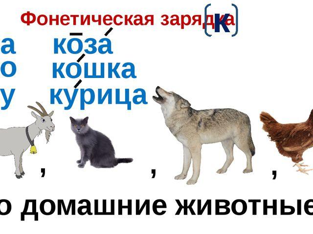 Фонетическая зарядка к ка ко ку коза кошка курица это домашние животные. , ,...