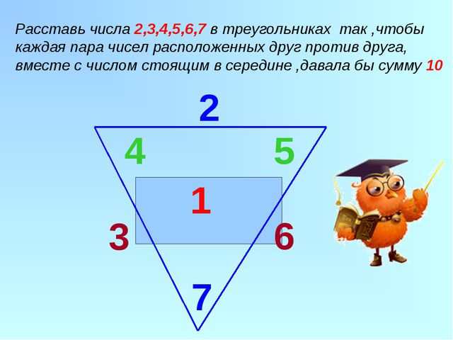 1 2 Расставь числа 2,3,4,5,6,7 в треугольниках так ,чтобы каждая пара чисел...