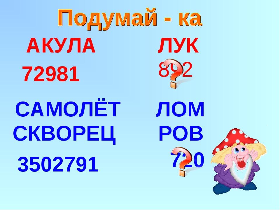 892 АКУЛА ЛУК 72981 САМОЛЁТ ЛОМ СКВОРЕЦ РОВ 3502791 720