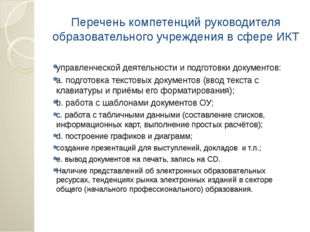Перечень компетенций руководителя образовательного учреждения в сфере ИКТ упр