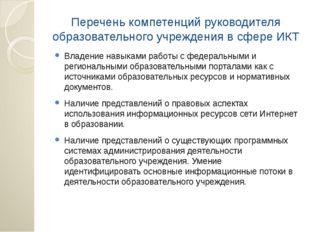 Перечень компетенций руководителя образовательного учреждения в сфере ИКТ Вла