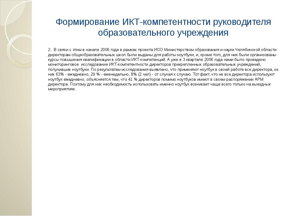 Формирование ИКТ-компетентности руководителя образовательного учреждения 2. В...