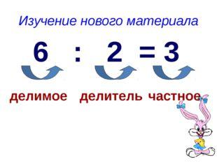 Изучение нового материала 6 : 2 = 3 делимое делитель частное