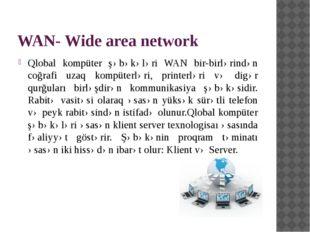 WAN- Wide area network Qlobal kompüter şəbəkələri WAN bir-birlərindən coğrafi