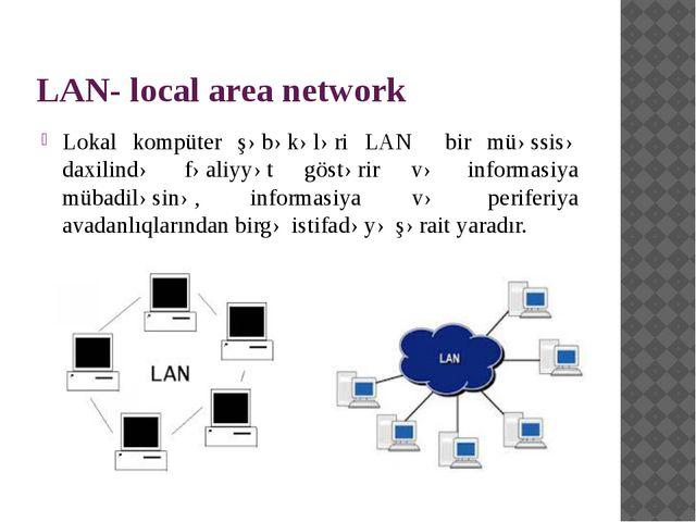 LAN- local area network Lokal kompüter şəbəkələri LAN bir müəssisə daxilində...